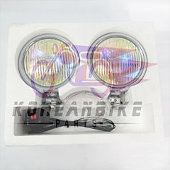 "5"" Chrome Fog light Yellow Lens Blue Unit & Bulb/ Wiring Pair VL125 GV250"